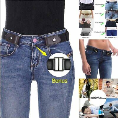 NEW Buckle Free Leather Belt No Hassle Women Men Fashion Gift Waistband Bulge
