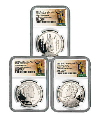 Royal Hawaiian Mint King Kalakaua I 3coin 1 oz Silver Medal NGC Gem PF SKU56506