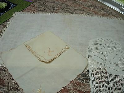 Lot Of 4 Vintage Linens-Runner--Doily--Napkins---#p56