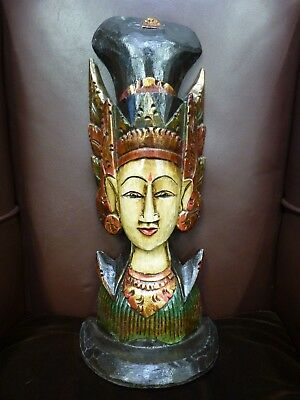 Large wooden wood carved painted Thai Thailand statue figure sculpture Deity