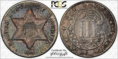 1861 3 Cent Silver PCGS XF45 Certified Beautiful Toning - ZRP