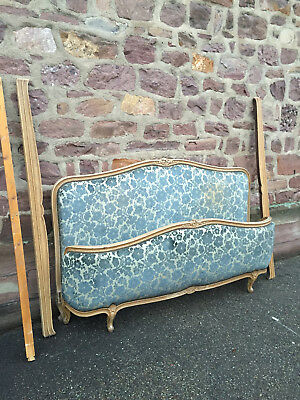 22122 ANTIQUE FRENCH Louis Upholstered corbeille BED 180CM