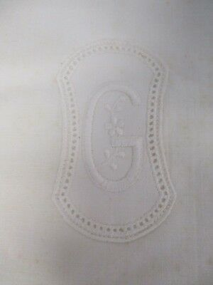 "2 ANTIQUE PURE LINEN PILLOWCASES with EMBROIDERED MONOGRAM ""G"" QUEEN 22"" X 34"""