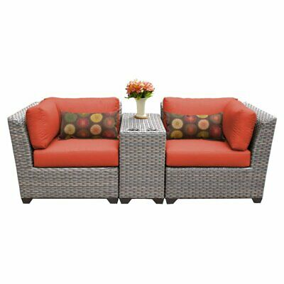 TK Classics Florence Wicker 3 Piece Patio Conversation Set with 2 Sets of