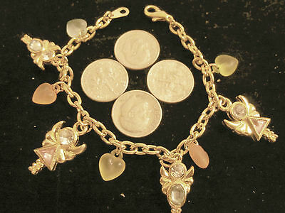 bling gold plated FASHION JEWELRY angel heart crystal charm chain WRIST bracelet