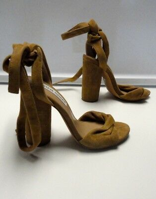 cc1490261cbc STEVE MADDEN Brown Suede Lace Up Block Heel Open Toe Clary Sandals Sz 5.5  B4753
