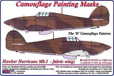 HAWKER HURRICANE Mk.I//II CAMOUFLAGE TYPE A PAINTING MASK #PC48008 1//48 PMASK