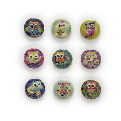 50pcs Owl 2 Hole Round Wood Buttons Decor Home Sewing Scrapbooking Clothing 15mm