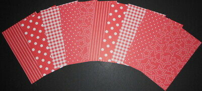 "Scrapbooking/Cardmaking Papers x 10  ~ SHADES OF RED ~ 15cm x 10cm ( 6"" x 4"")"