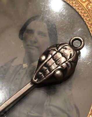 Antique Rare Sterling Silver Snake Head Button Hook For Chatelaine