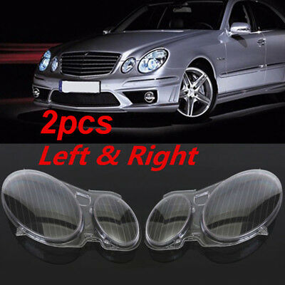 For Benz W211 E350/300/200 Headlight Lens Replacement Cover Left+Right