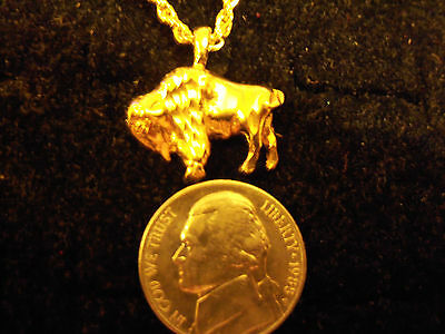 bling gold plated wild sport buffalo mascot PENDANT charm chain hip hop necklace