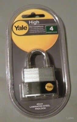 Yale Y110/40/122/1 Laminated Steel Padlock, Brass 5-Pin Key Cylinder