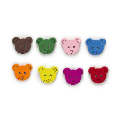50pcs 2 Hole Bear Wood Buttons Clothing Home Sewing Scrapbooking Decor 18x15mm