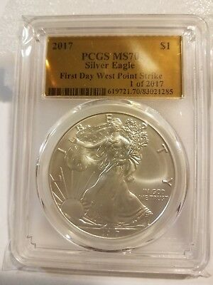 2017 PCGS MS70 Silver Eagle First Day West Point Strike 1 of 2017 Gold Foil