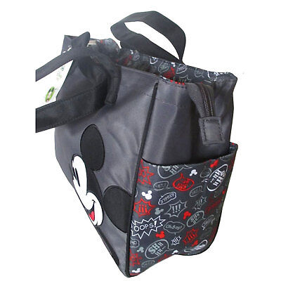 Disney Mickey Minnie Mouse Baby Diaper Bag Nappy Bottle Tote Bag Red Gray NEW