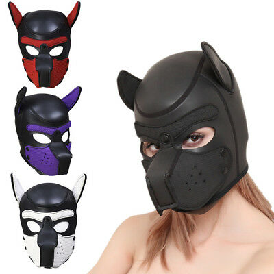 4 Color Sexy Cosplay Role Play Dog Full Head Mask Soft Padded Latex Rubber Puppy