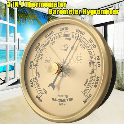 Vintage Bronze Wall Hanging Barometer Weather Station Thick 28mm