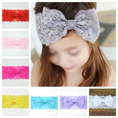 Kids Baby Girls Headband Soft Lace Bow Elastic Band Hairband Hair Accessories