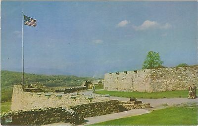 "Fort Ticonderoga, New York with Cannons and American Flag ""Old Glory"" in 1950's"