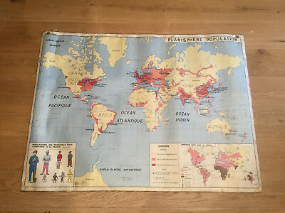 Genuine vintage 1960 school map for the French schools MDI