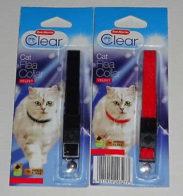 Bob Martin Clear Cat Flea Collar Twin Pack Velvet Black Red Snap Clip with Bell