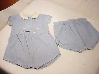 Vtg Baby 12 to 18 Mo. Blue Check Romper 40 50's Shirt 2 Bloomers w Button Crotch