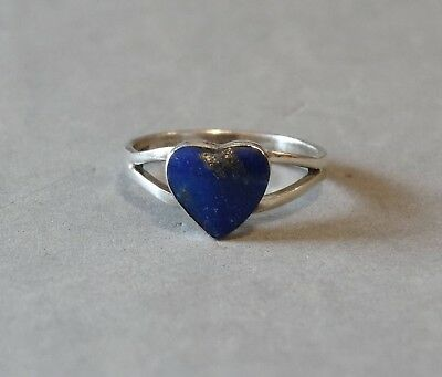 Vintage Heart Ring Sterling Silver Blue Lapis Lazuli Native Size 6.5 Marked 925