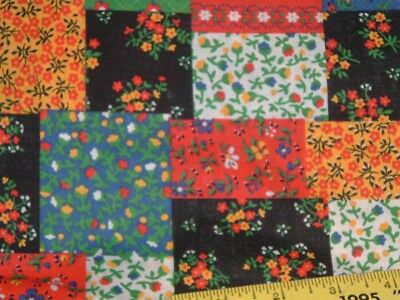 Vtg 70s Retro Calico Cheater Quilt Patch Cotton Sew Doll Fabric 2.8Ydx42 NOS#pb5