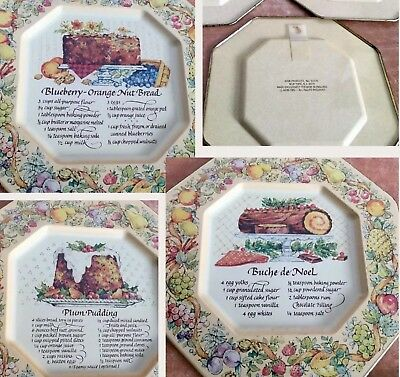 Vintage Avon 1982 Pltes Tin Recipes Trays Made in England Blueberry Plum Lot Of