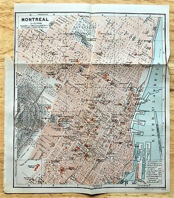 1907 Original MONTREAL Canada  Antique Color Map - Authentic BAEDEKER w/ Streets