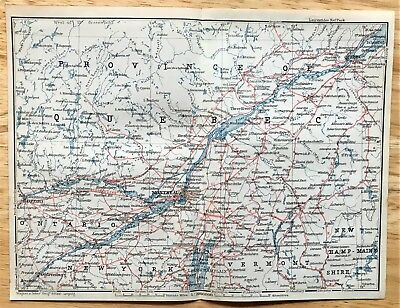 1907 Original PROVINCE of QUEBEC Canada - Antique Color Map - Authentic BAEDEKER