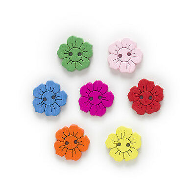 50pcs 2 Hole Sun Flower Wood Buttons Sewing Scrapbooking Decor Clothing 15mm