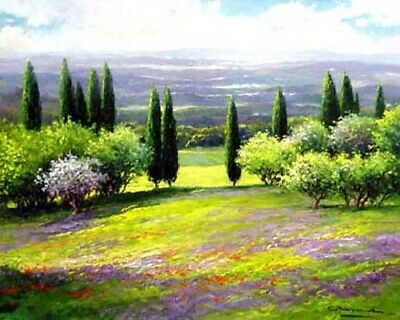 """Handpainted Landscape Oil Painting On Canvas Colorful Art For Home 24""""x32"""" FA118"""