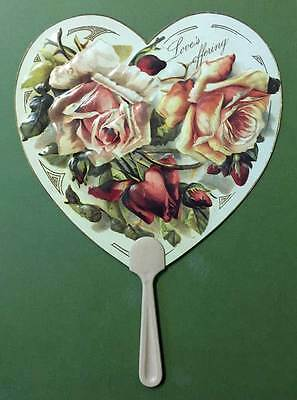 Rose's Victorian Fan w/Handle Love's Offering Old Print Factory