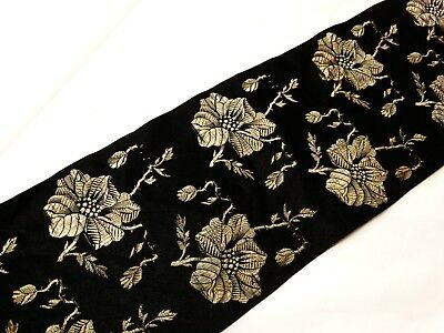 """ANTIQUE VICTORIAN Roses Silk Brocade Ribbon Black Taupe 23"""" x 4"""" Millinery Dolls"""