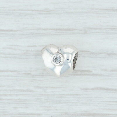 Authentic Pandora Sparkling Heart Charm - 790134CZ Sterling Silver Clear CZ Bead