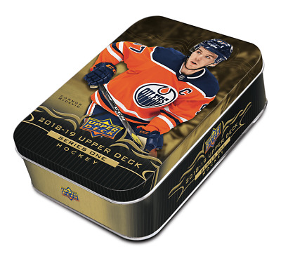 Sealed 2018-19 Upper Deck UD Series 1 Tin 12 packs Look for YG & oversized card