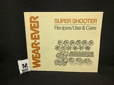 (M) WearEver Super Shooter Cookie Gun REPLACEMENT RECIPE/USE & CARE BOOK ONLY