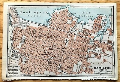 1907 Original HAMILTON, Canada Antique Color Map - Authentic BAEDEKER w/ Streets