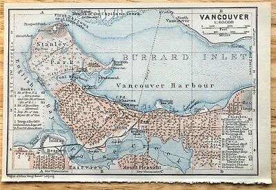 1907 Original VANCOUVER Canada Antique Color Map - Authentic BAEDEKER w/ Streets