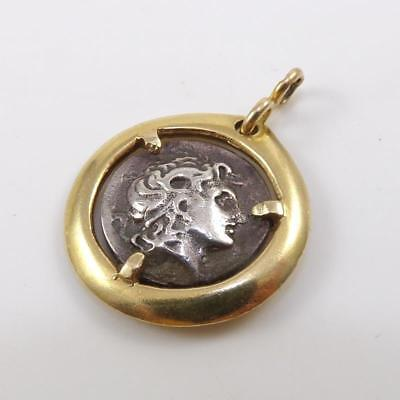 Ancient Roman Augustus Coin with 14K Yellow Gold Pendant QXL9