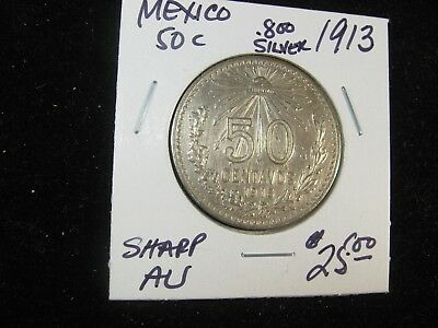 1913 Mexico 50 Centavos .800 Silver Sharp About Unc