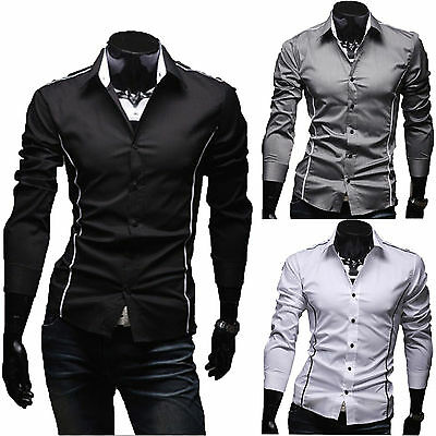 Luxury Mens Slim Fit Dress Shirt Long Sleeve Casual Formal Business Shirt Tops
