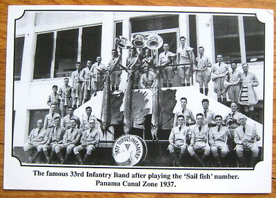 2001 reproduction postcard 33rd Infantry Band, Fort Clayton, Canal Zone