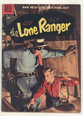 February 1957 THE LONE RANGER #104 painted cover comic. SECRET HIDE-OUT!