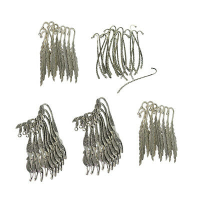 60pcs Alloy Metal Feather Mermaid Line Bookmark Charms For Beading Finding