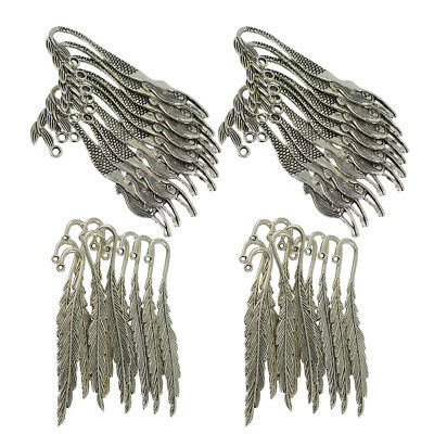 40pcs Alloy Metal Feather Mermaid Bookmark Charms For Beading Finding Craft