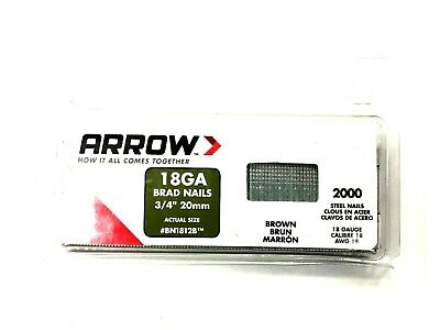Arrow BN1812B Brad Nails 20mm Brown Head Pack 2000 & 38mm Pack 1000