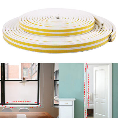 10/20M Draught Excluder Self Adhesive Rubber Door Window Seal Strip Roll Foam